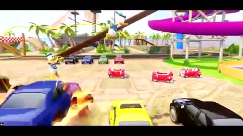 ♫Nursery Rhymes♫ with TRIPLE DONALD DUCK riding Mickey's Car & race with Lightning McQueen !