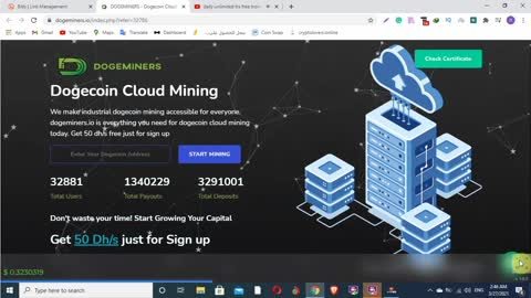 dogeminers.io Dogecoin Cloud Mining Get 50 Dhs just for Sign up - 2021