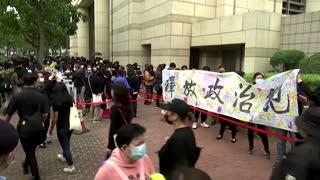 Protesters, police at Hong Kong subversion hearing