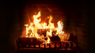 A Crackling Fireplace with Traditional Instrumental Christmas Music