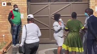 Outside the house of the late Joburg Mayor Jolidee Matongo in Lenasia South