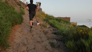 Man Running with 2 Dogs on Mountain Trail 1#
