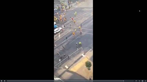 Aussie Police abusing citizens, firing pepper balls at crowd.