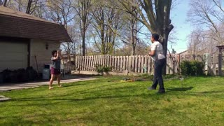 family dodge ball play time