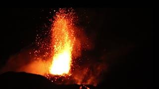Stromboli Volcano Erupts at Night