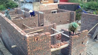 Building Brick Walls Using Sand And Cement Is Easily - Building A House With Low Cost