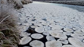 Unusual Ice Forms Pancakes on River