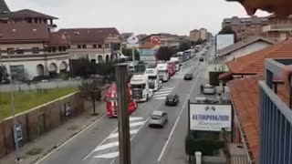 Italian Truck drivers start. Tomorrow they plan to bring the country to a standstill. 26/09/21