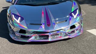 Rainbow Chrome Lambo Pulls out of Parking Spot