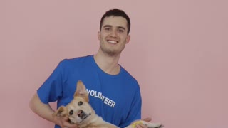 A-male volunteer for animal rescue movement