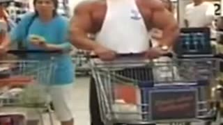 Body builder getting people attention
