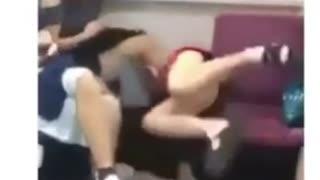 Cute girl falls in the train while sleeping