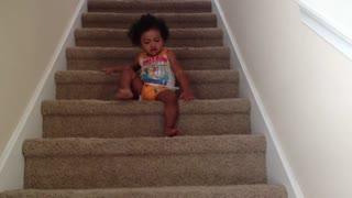 Blasian Babies Sister Climbs Down Stairs!