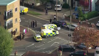 Aerials of scene where British lawmaker killed