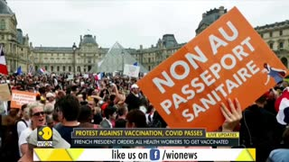 Thousands protest COVID-19 Health Pass in France.