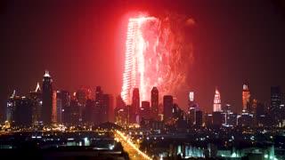Dubai Fireworks Skyline
