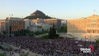 Protest in Athens against mandatory COVID-19 vaccinations for healthcare workers