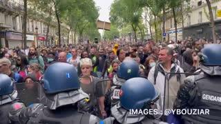 Paris July 17 2021 Protest Front line