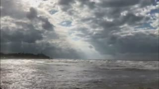 By the beach on a cloudy day