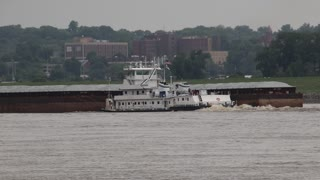 A Riverboat Barge on the Mississippi River in Alton, IL