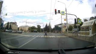 Grandma Narrowly Escapes Traffic Accident