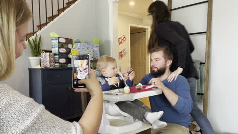 Baby bursts into tears during his 'Happy Birthday' song