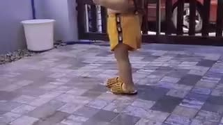Cute little girl walking around