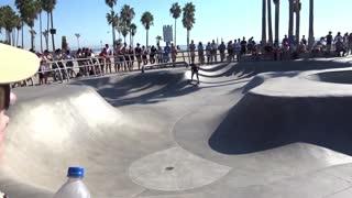 Young skate board girl at Venice beach