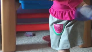 Baby girl takes her very first steps