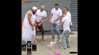 Guys doing summoning ritual in broad daylight