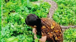 Little girls play python snake