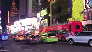 Times Square's traffic at night