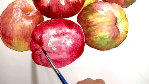 Easy ways to paint Apples in watercolor painting