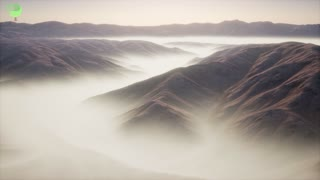 mountain landscape with deep fog at morning