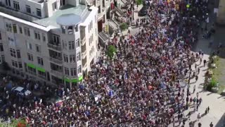 Large protest in Montreal, Quebec, Canada 8-14-2021