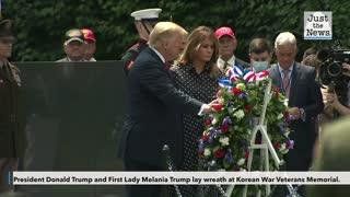 Trump lays wreath at Korean War Veterans Memorial