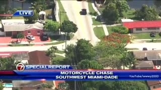 High Speed Motorcycle Police Chase In Miami... Foot Bail Fence Hopping...