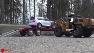 Container Trucks Go Wrong, Crashes into Police Car