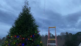 Christmas Tree Decorated With a Drone