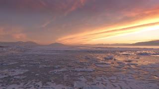 Ice on Utah Lake during Sunset