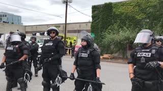 Antifa thugs harass Portland police officers