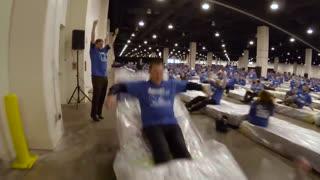 World Records 😲 Largest human mattress dominoes -