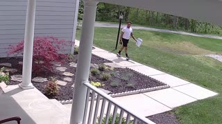Amazon Driver Hopscotches During Delivery