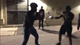 2 Kids Boxing At Park