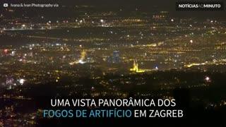 Vista panorâmica mostra incrível queima de fogos em Zagreb