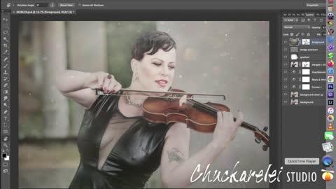Vinyl Violin shot photoshop layers explained