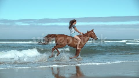 Super slow motion shof of woman riding horses at beach,