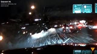 Dashcam in NJ snow of car crash 2021.02.03