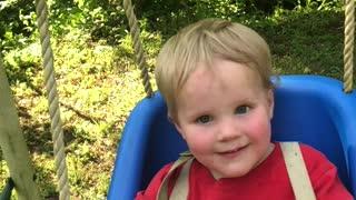 Little boy on a swing