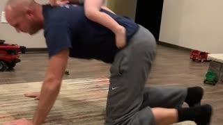 Bucking Bull With Amazing Dad Reflexes